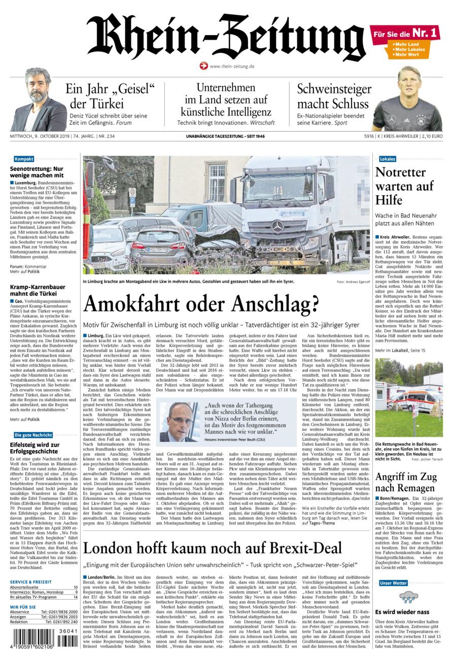 Rhein-Zeitung Kreis Ahrweiler vom Mittwoch, 09.10.2019