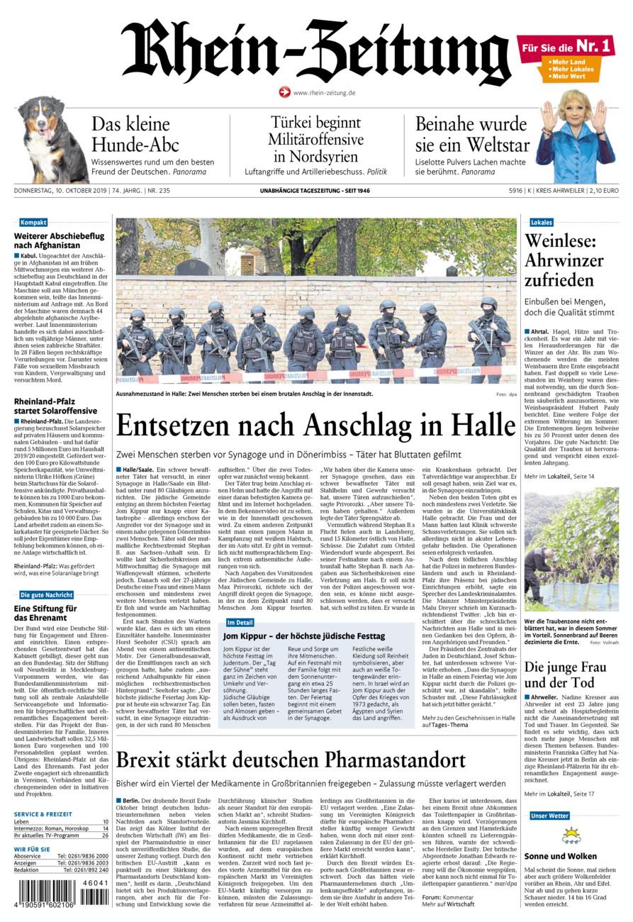 Rhein-Zeitung Kreis Ahrweiler vom Donnerstag, 10.10.2019