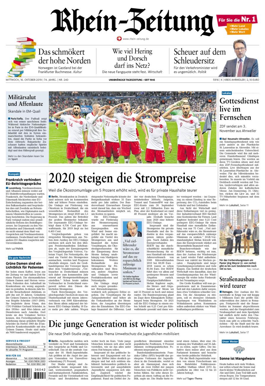 Rhein-Zeitung Kreis Ahrweiler vom Mittwoch, 16.10.2019