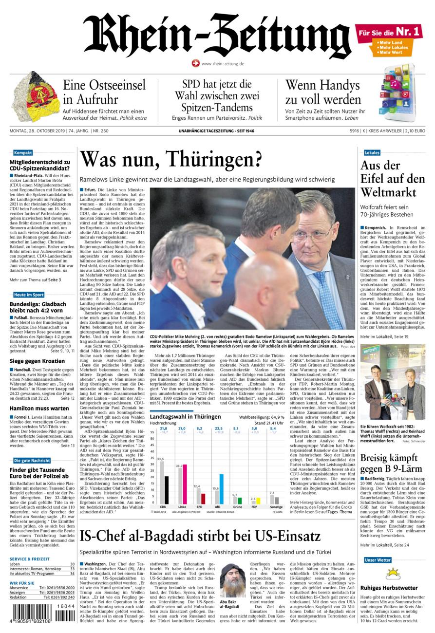 Rhein-Zeitung Kreis Ahrweiler vom Montag, 28.10.2019