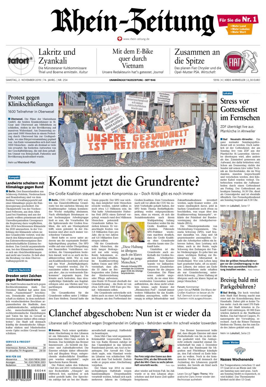 Rhein-Zeitung Kreis Ahrweiler vom Samstag, 02.11.2019