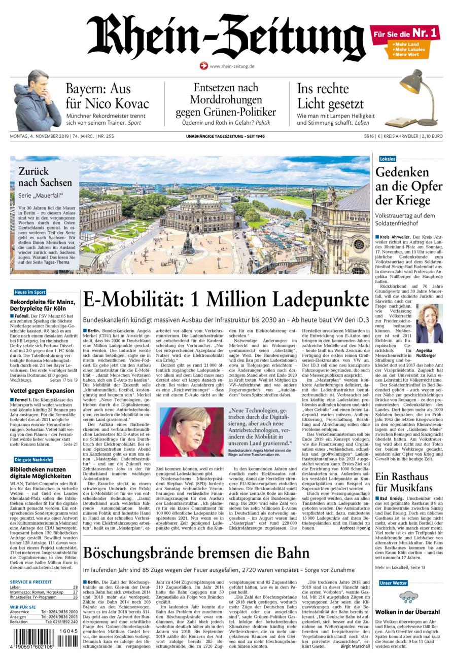Rhein-Zeitung Kreis Ahrweiler vom Montag, 04.11.2019