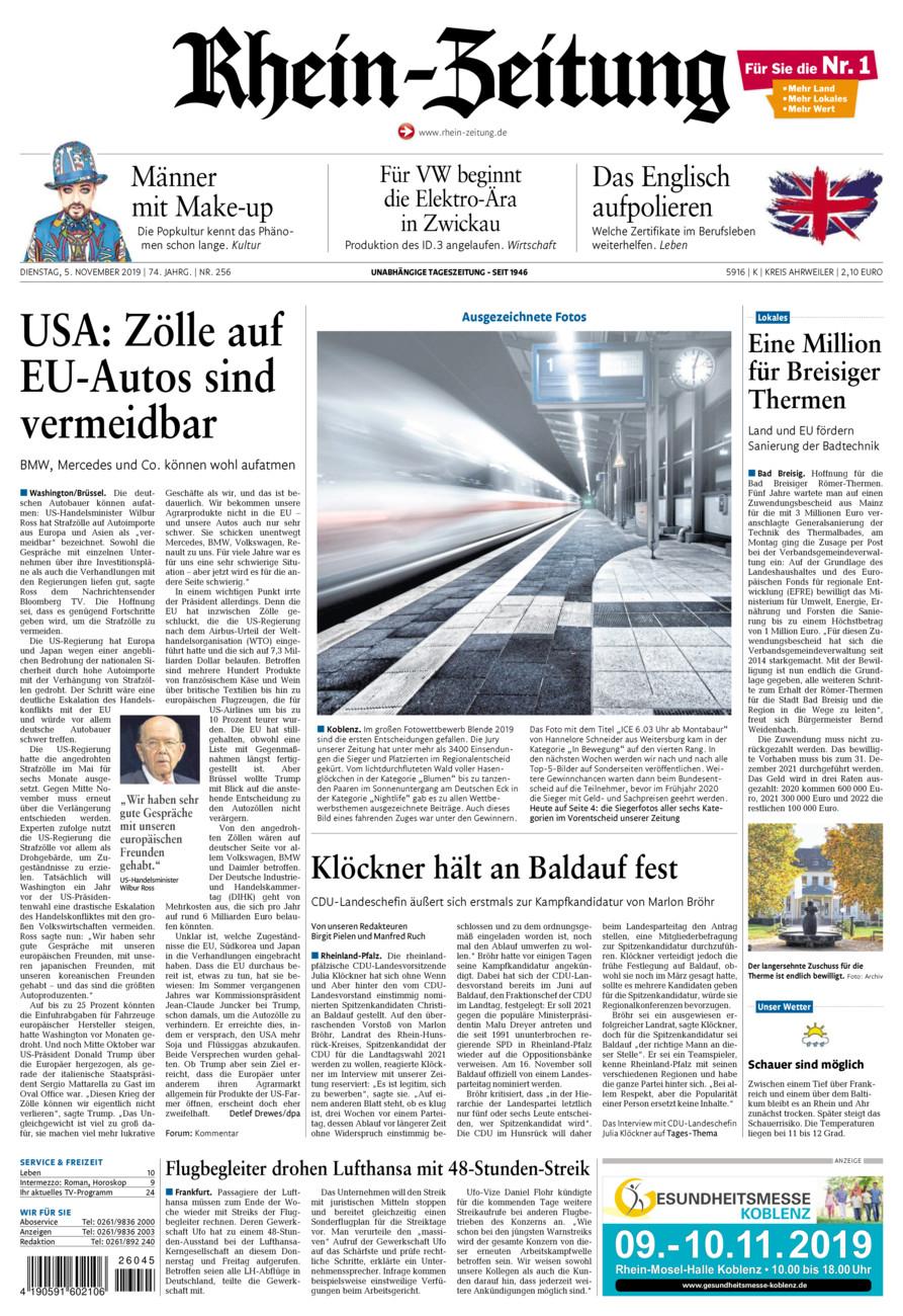 Rhein-Zeitung Kreis Ahrweiler vom Dienstag, 05.11.2019