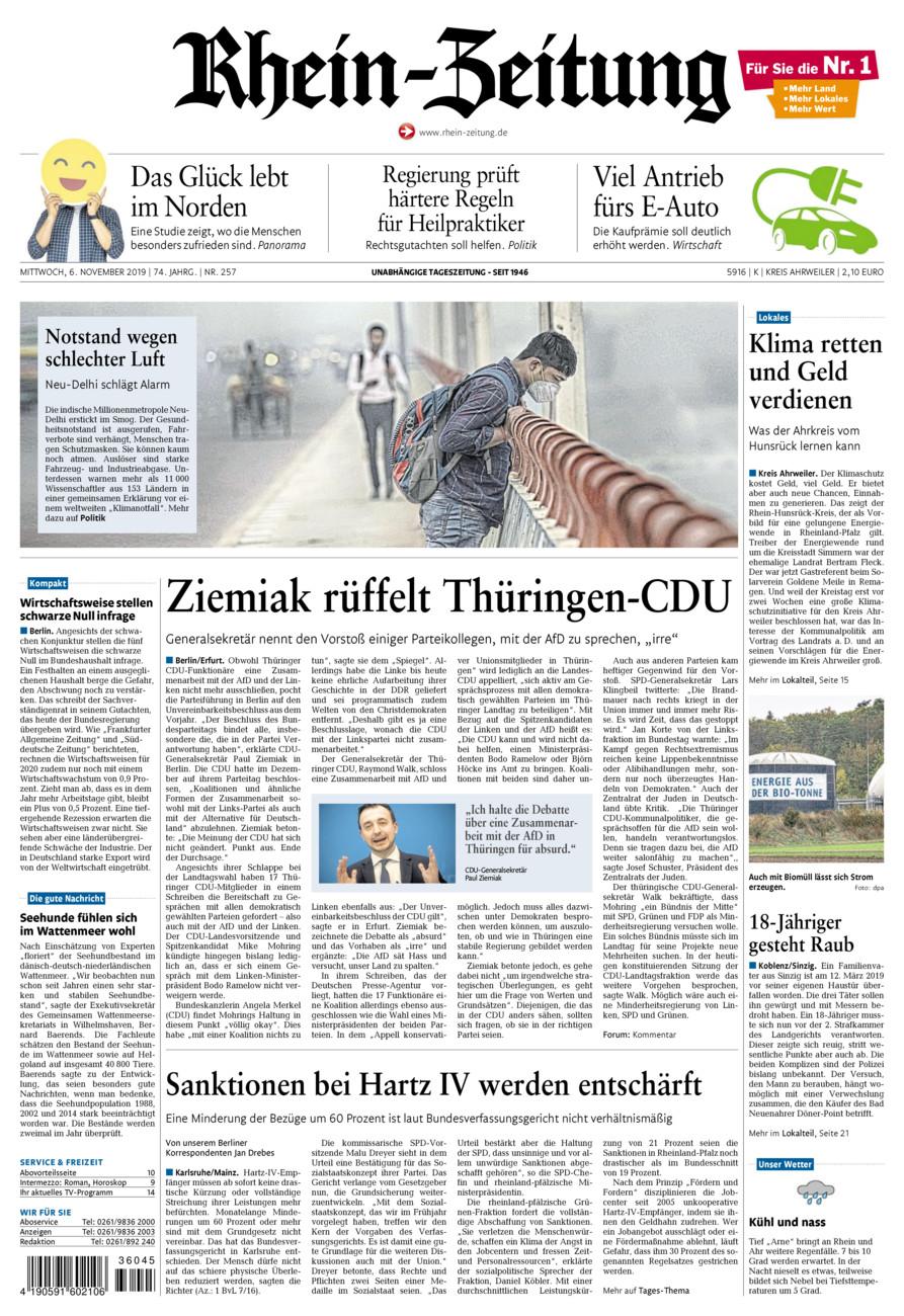 Rhein-Zeitung Kreis Ahrweiler vom Mittwoch, 06.11.2019