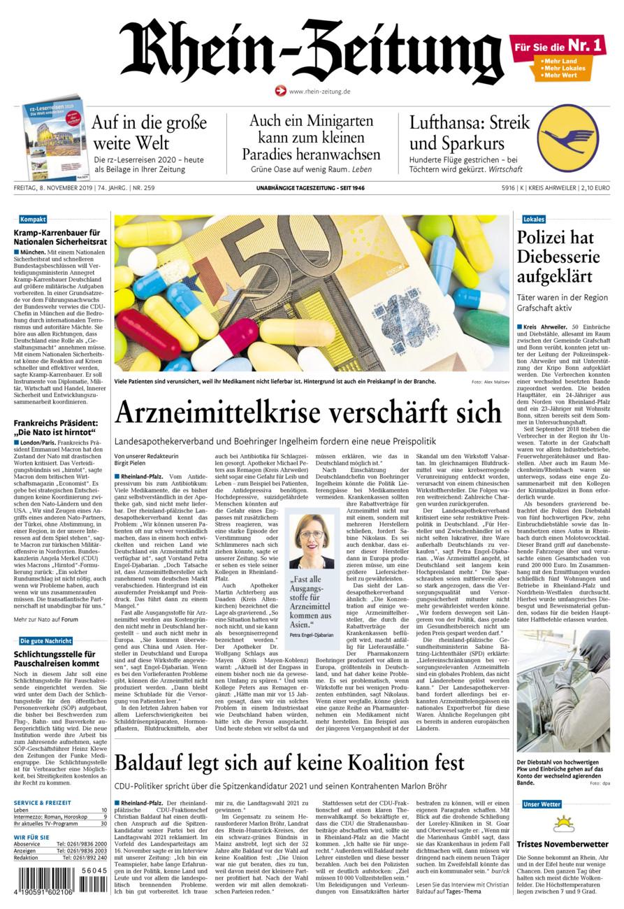 Rhein-Zeitung Kreis Ahrweiler vom Freitag, 08.11.2019