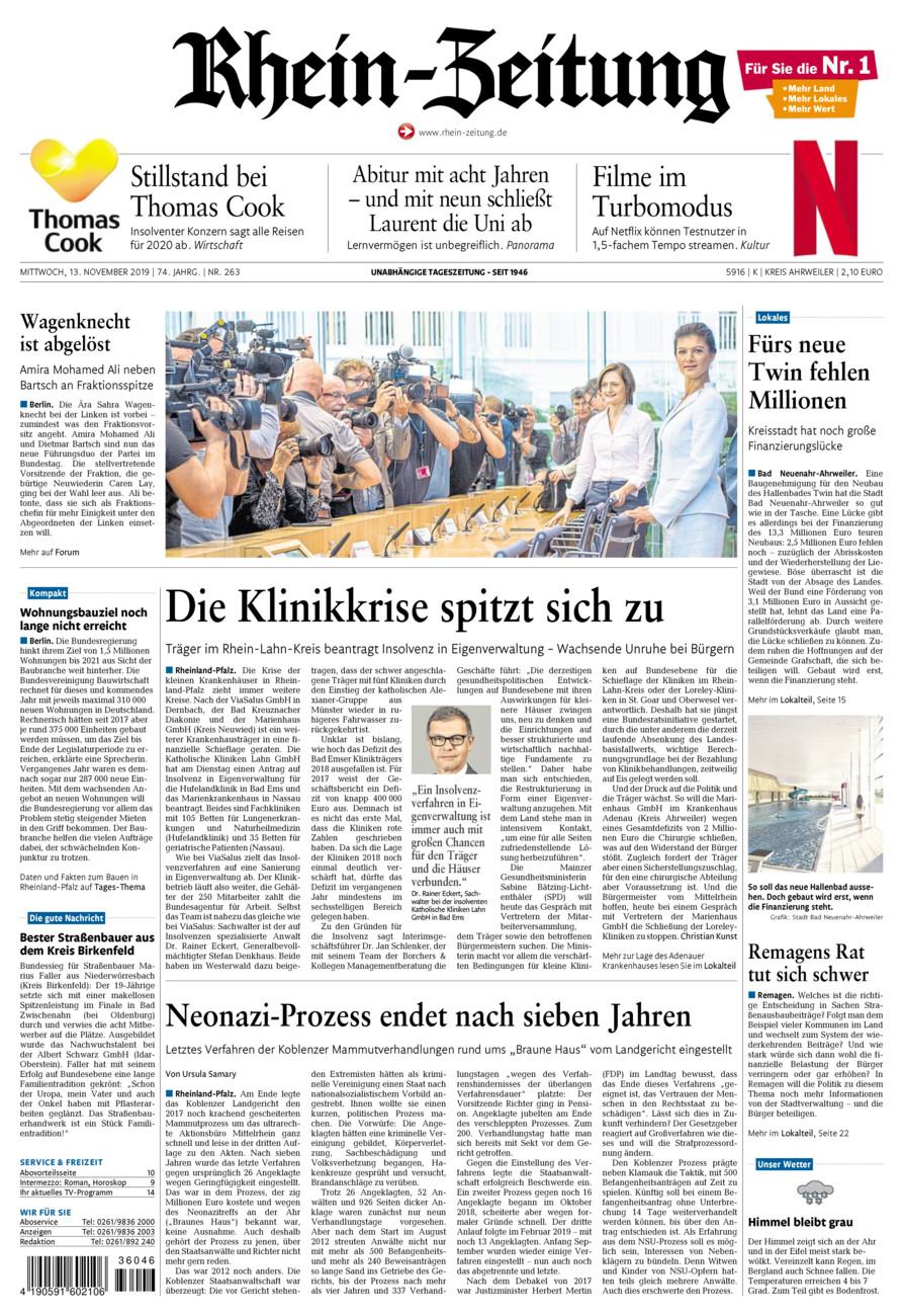 Rhein-Zeitung Kreis Ahrweiler vom Mittwoch, 13.11.2019