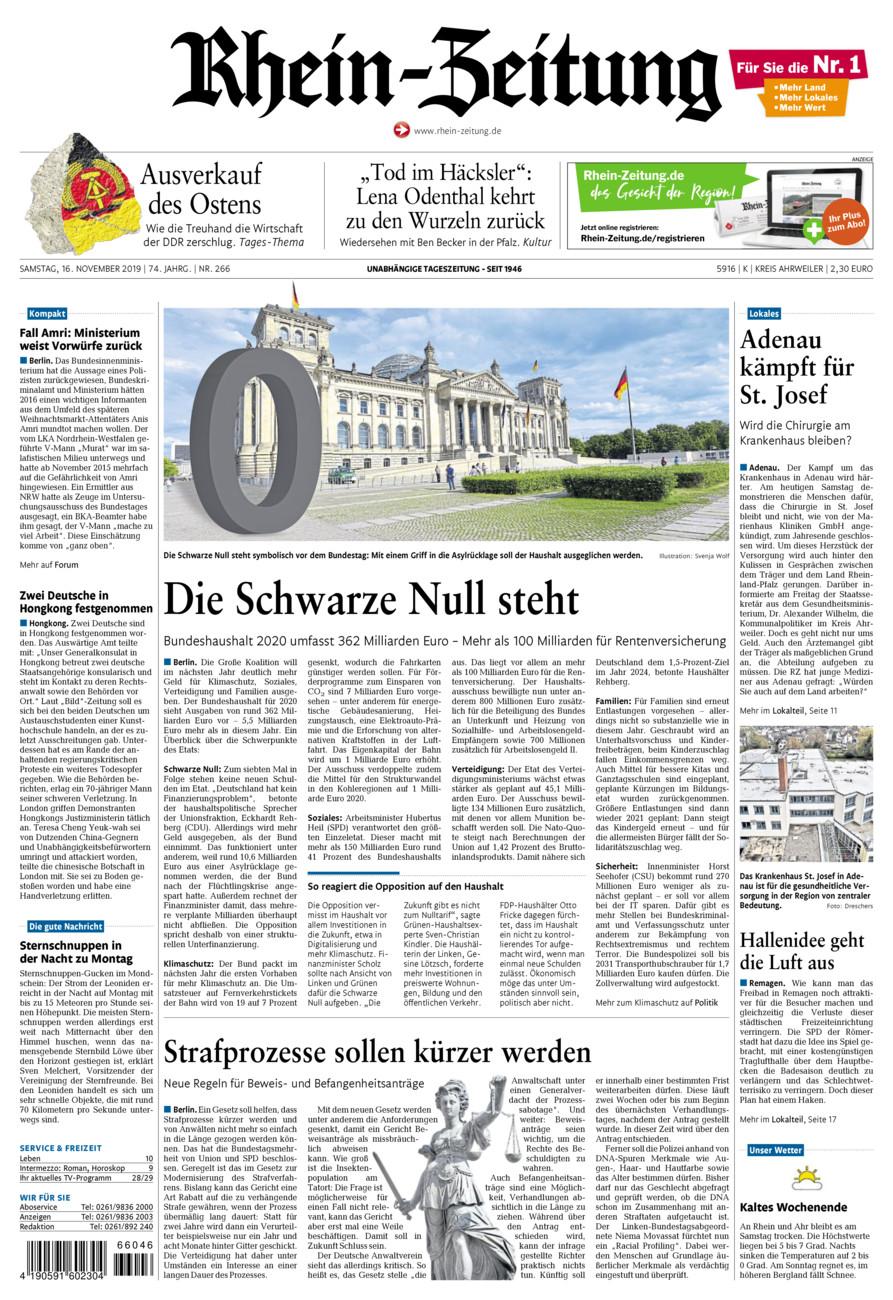 Rhein-Zeitung Kreis Ahrweiler vom Samstag, 16.11.2019