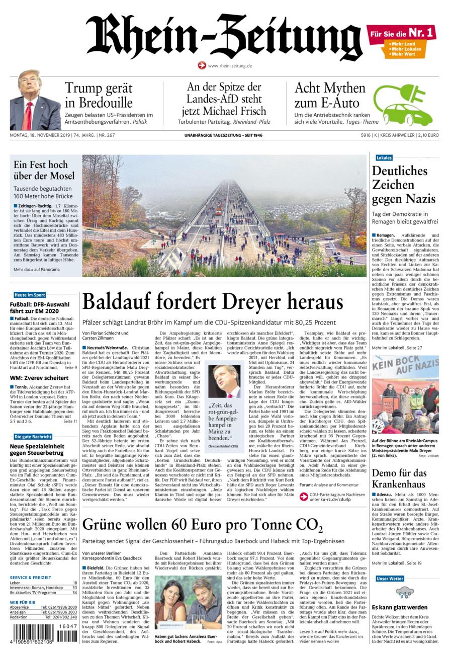 Rhein-Zeitung Kreis Ahrweiler vom Montag, 18.11.2019