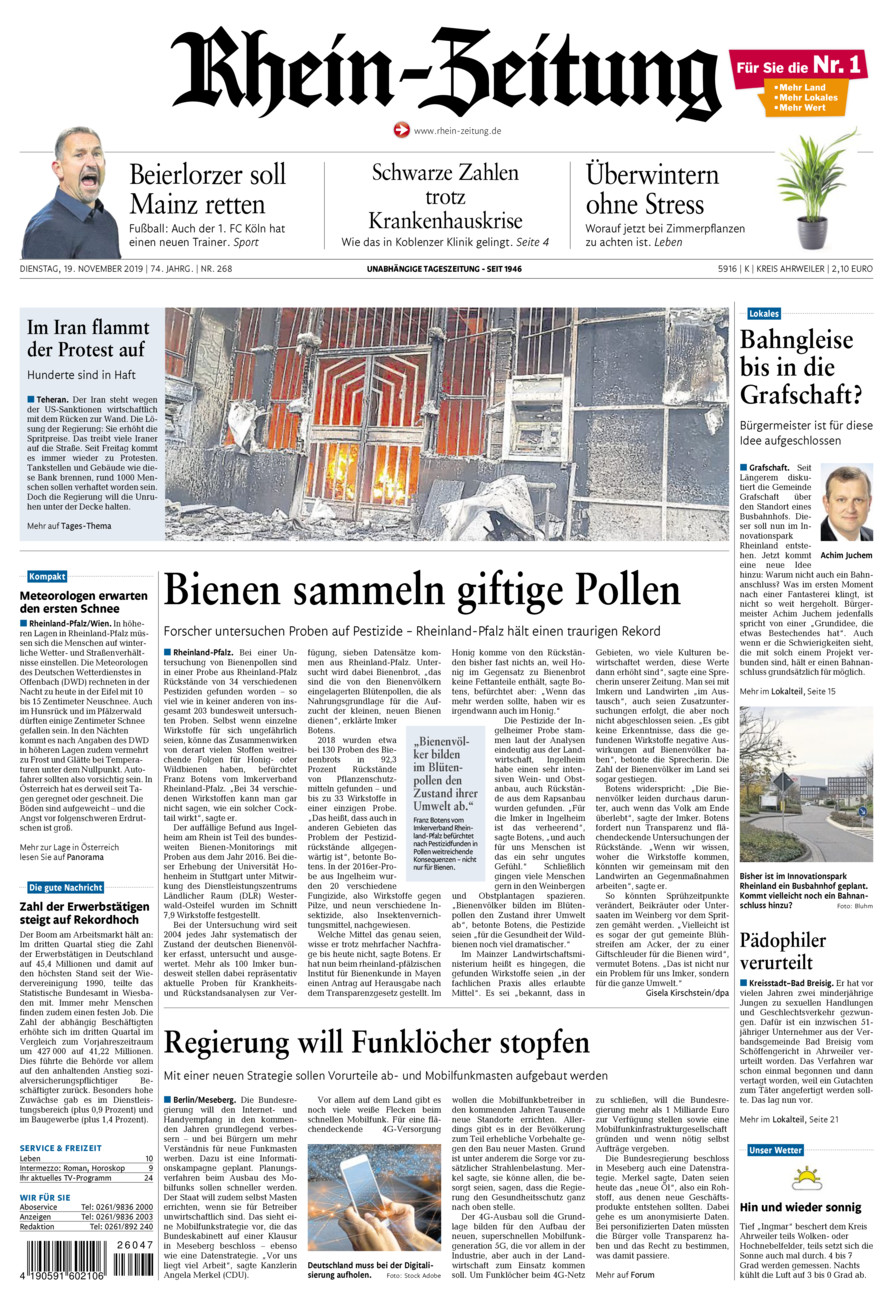 Rhein-Zeitung Kreis Ahrweiler vom Dienstag, 19.11.2019