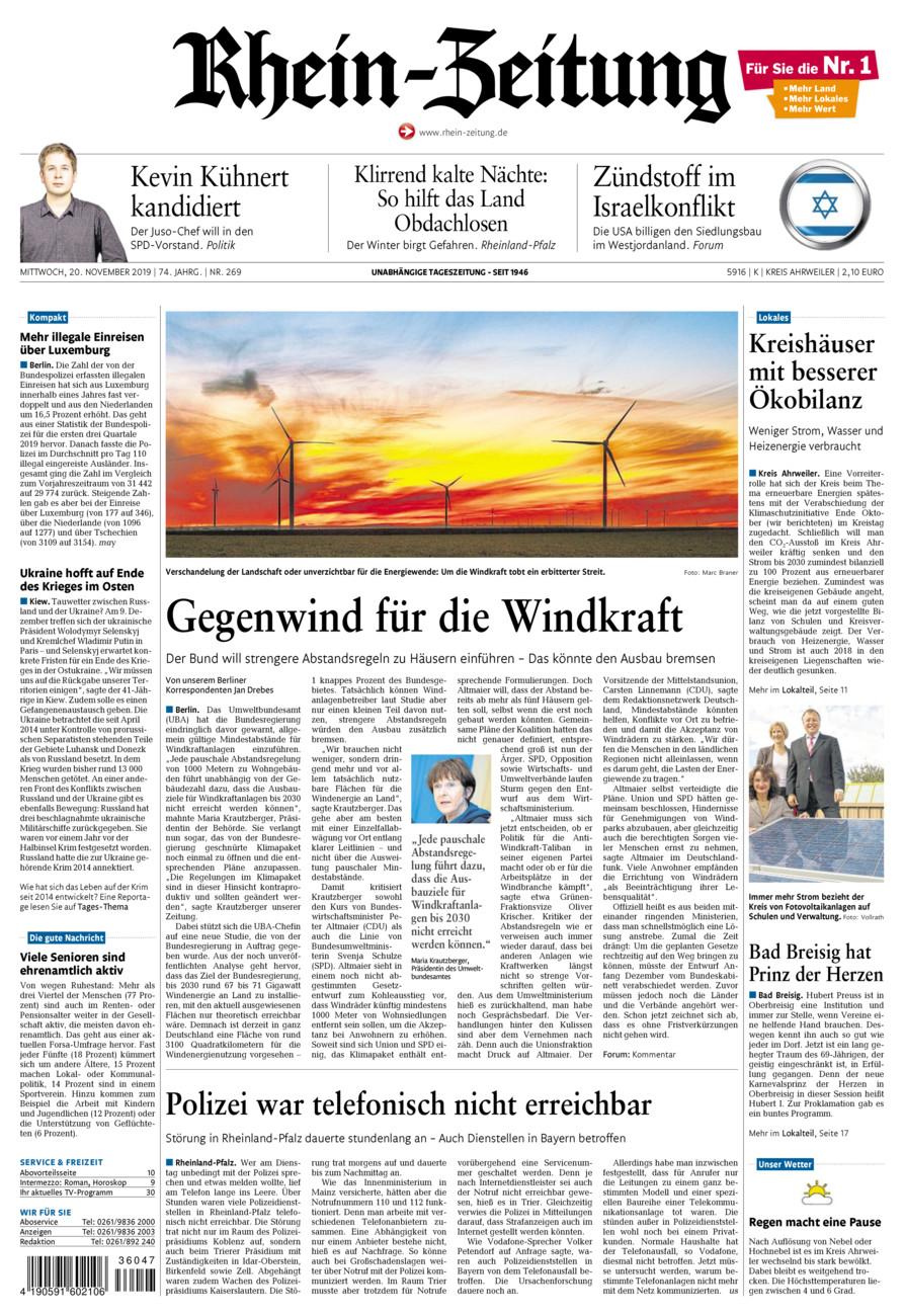 Rhein-Zeitung Kreis Ahrweiler vom Mittwoch, 20.11.2019