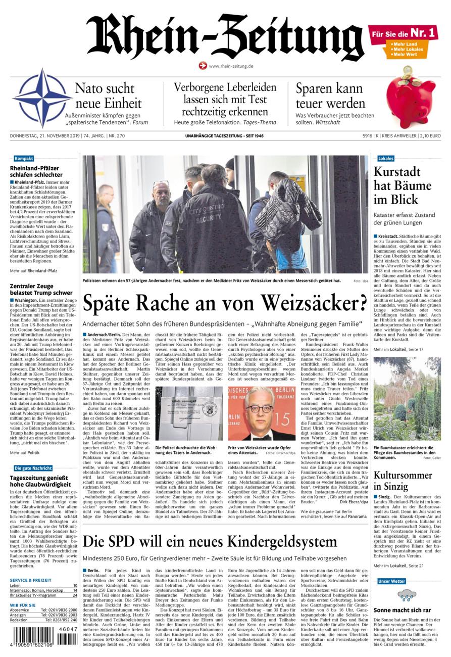 Rhein-Zeitung Kreis Ahrweiler vom Donnerstag, 21.11.2019