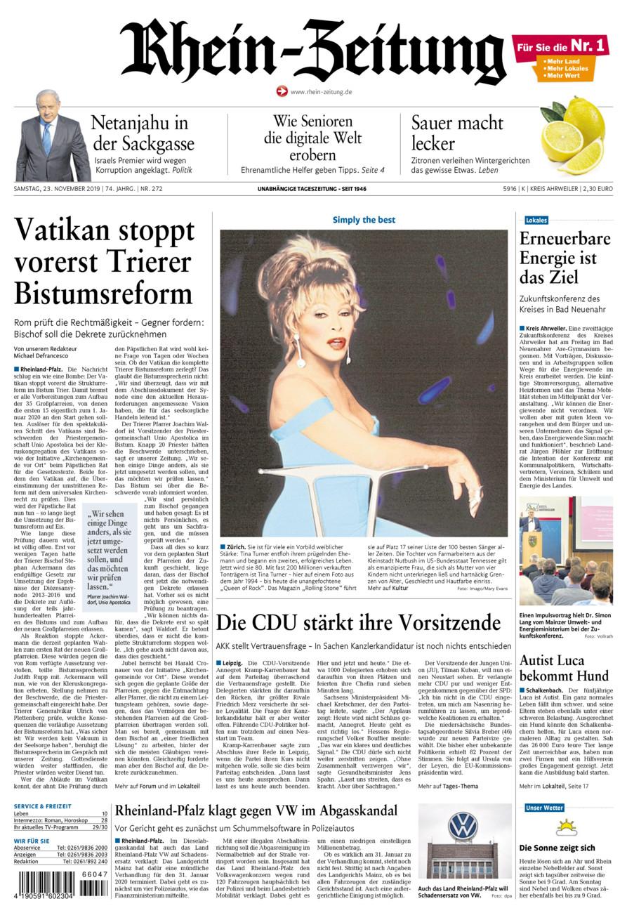 Rhein-Zeitung Kreis Ahrweiler vom Samstag, 23.11.2019