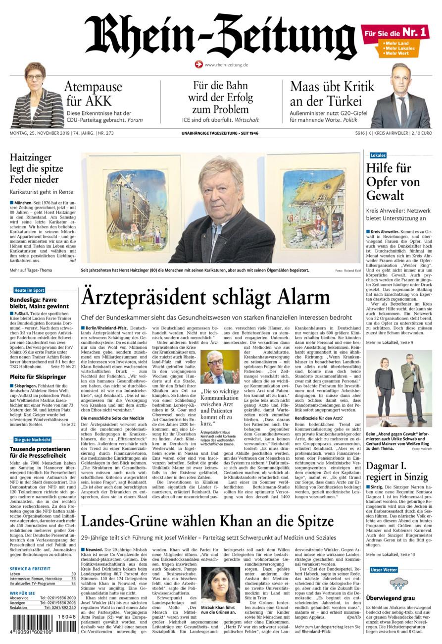 Rhein-Zeitung Kreis Ahrweiler vom Montag, 25.11.2019