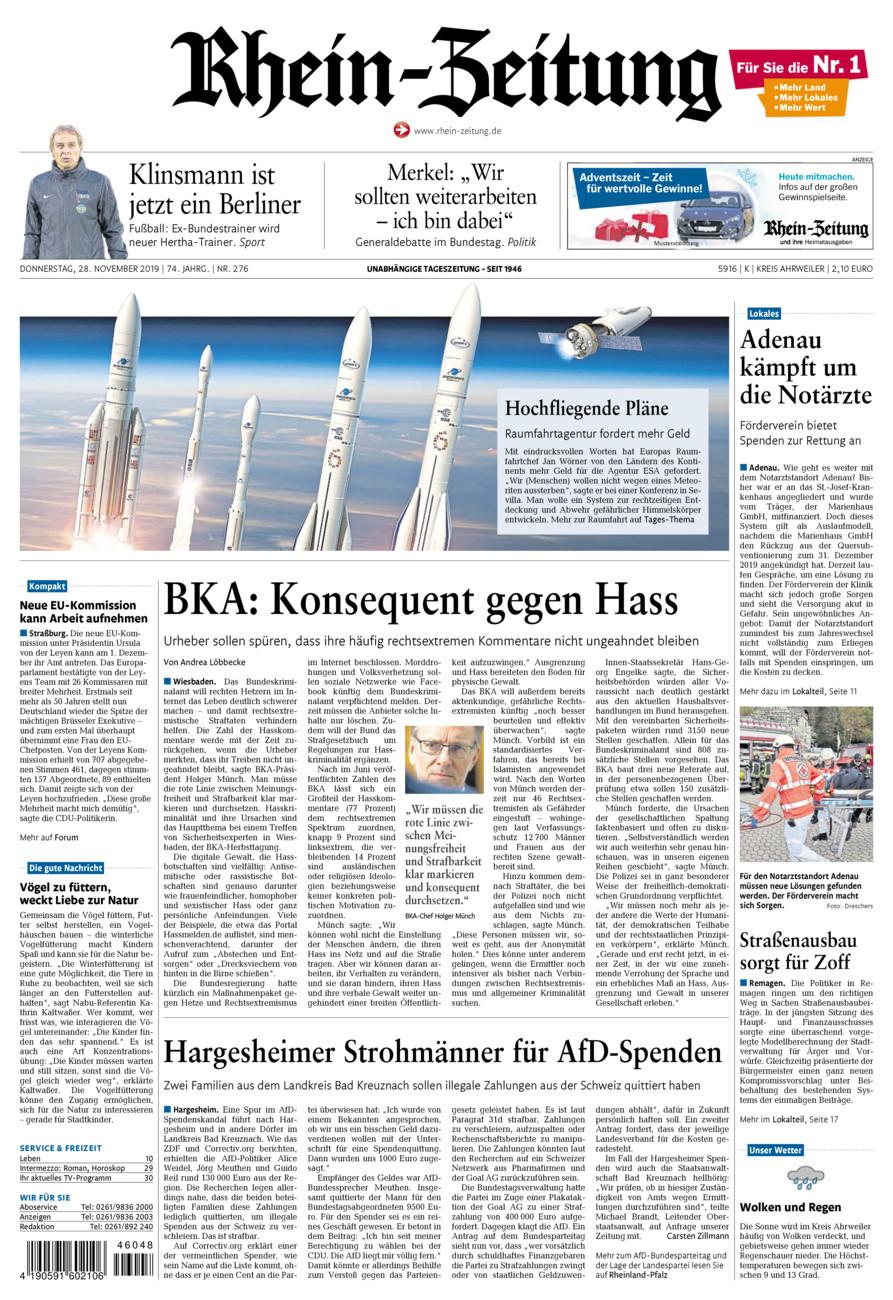Rhein-Zeitung Kreis Ahrweiler vom Donnerstag, 28.11.2019