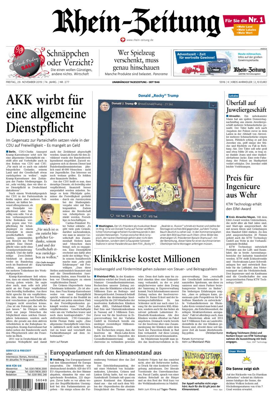 Rhein-Zeitung Kreis Ahrweiler vom Freitag, 29.11.2019