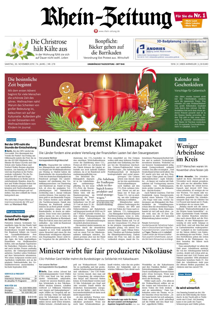 Rhein-Zeitung Kreis Ahrweiler vom Samstag, 30.11.2019