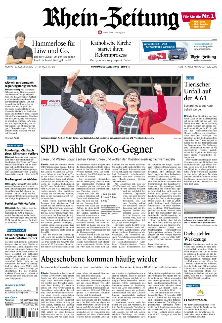 Rhein-Zeitung Kreis Ahrweiler vom Montag, 02.12.2019