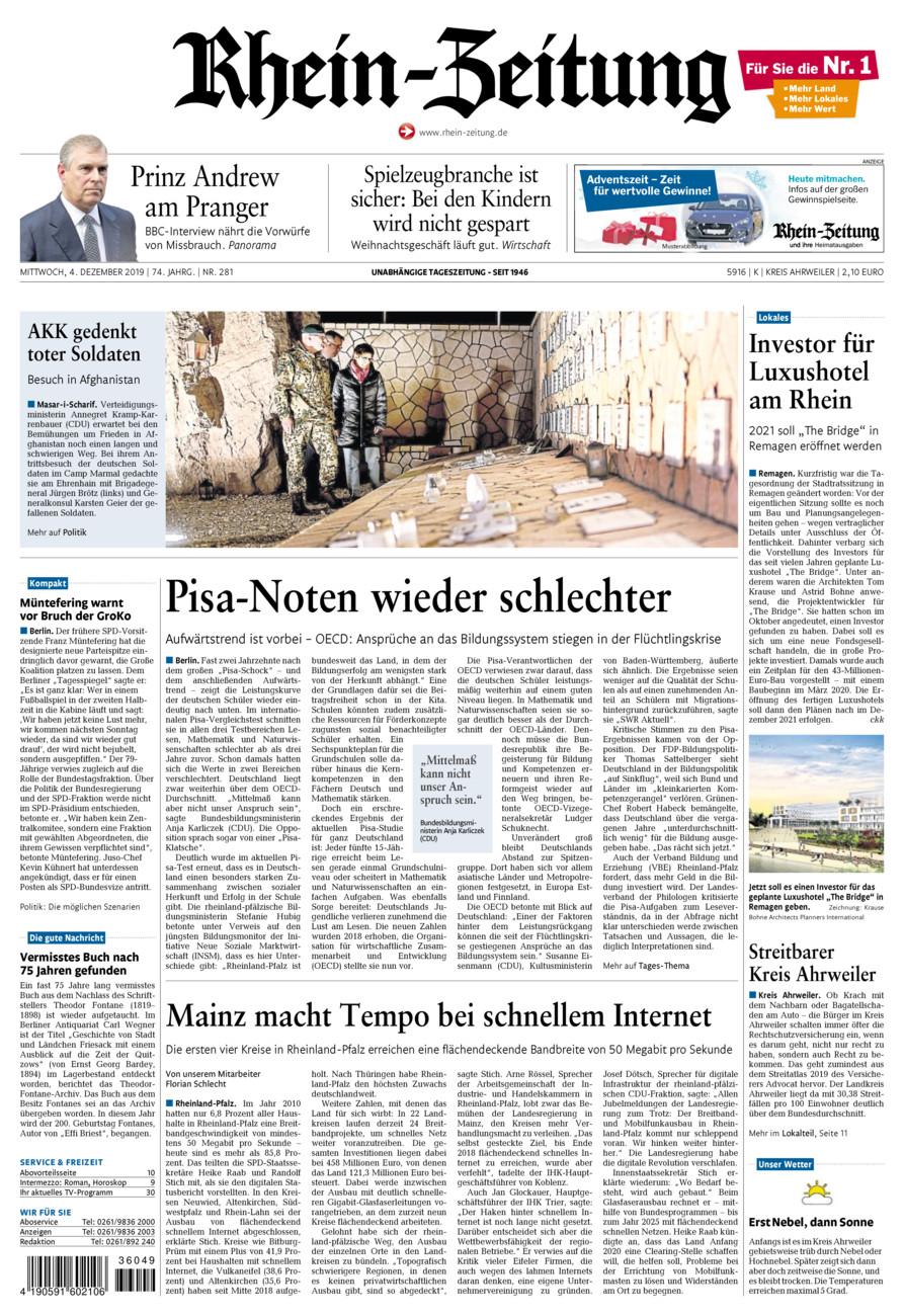 Rhein-Zeitung Kreis Ahrweiler vom Mittwoch, 04.12.2019