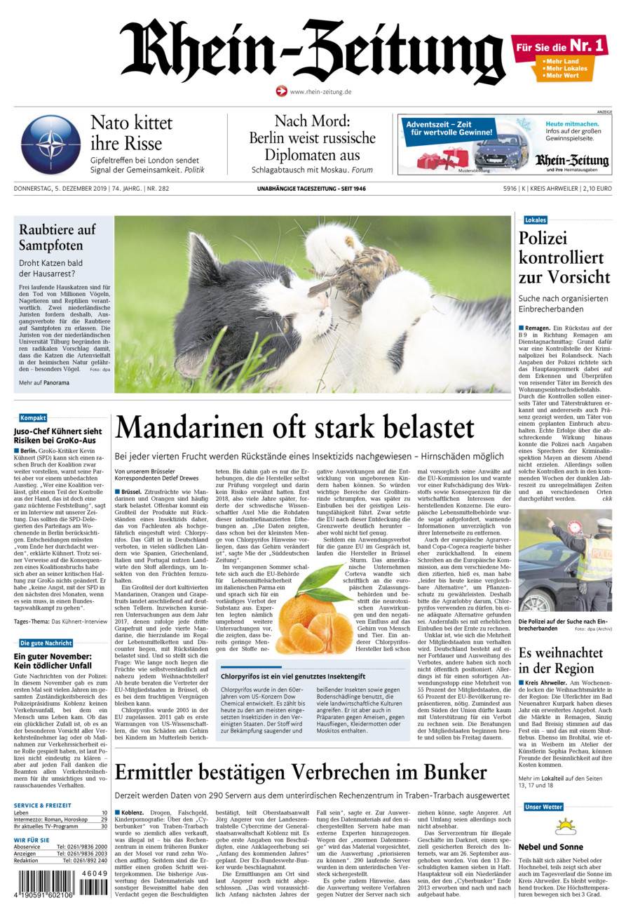 Rhein-Zeitung Kreis Ahrweiler vom Donnerstag, 05.12.2019
