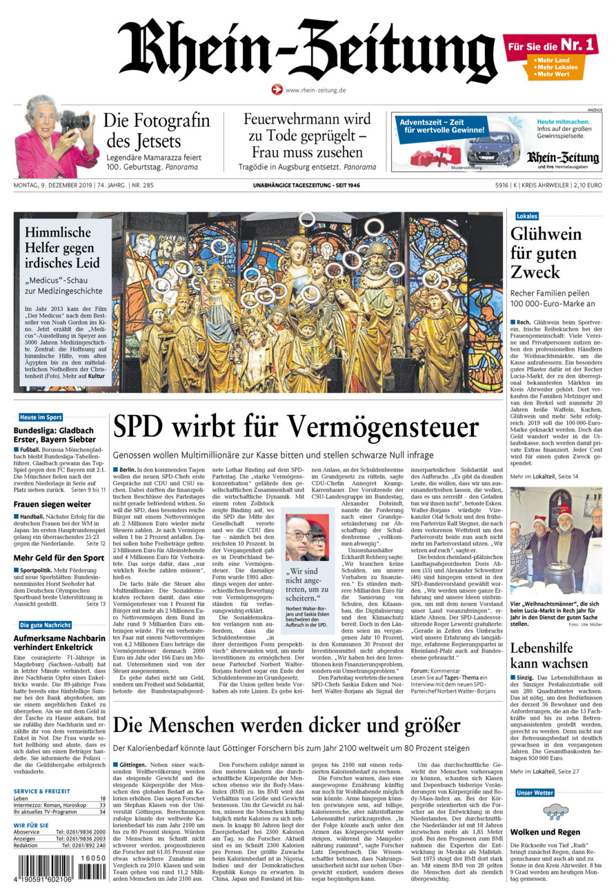 Rhein-Zeitung Kreis Ahrweiler vom Montag, 09.12.2019