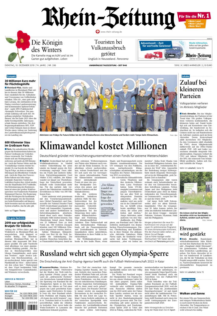 Rhein-Zeitung Kreis Ahrweiler vom Dienstag, 10.12.2019