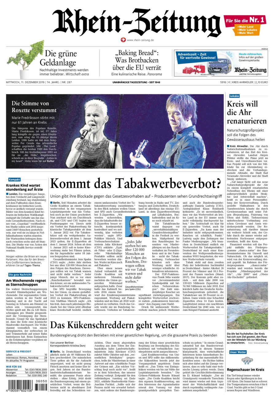 Rhein-Zeitung Kreis Ahrweiler vom Mittwoch, 11.12.2019