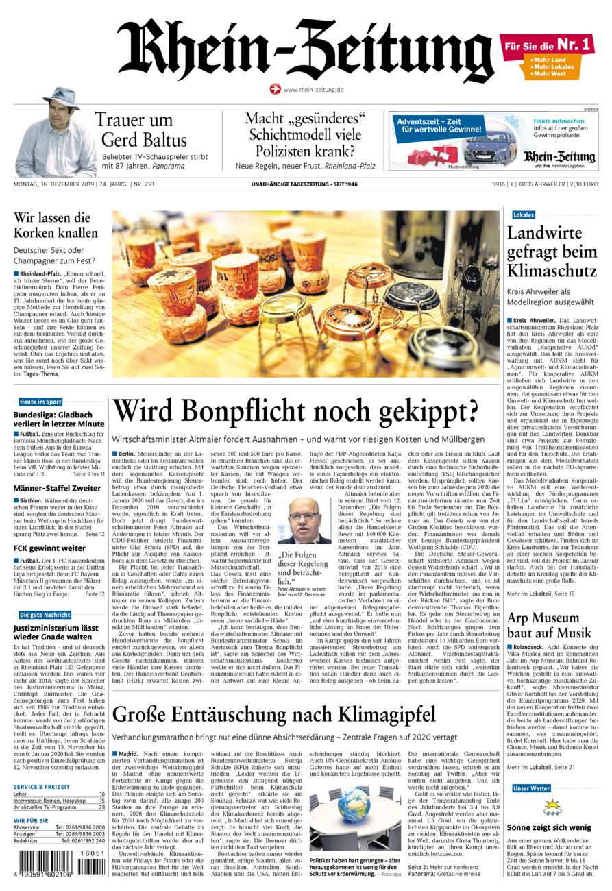 Rhein-Zeitung Kreis Ahrweiler vom Montag, 16.12.2019