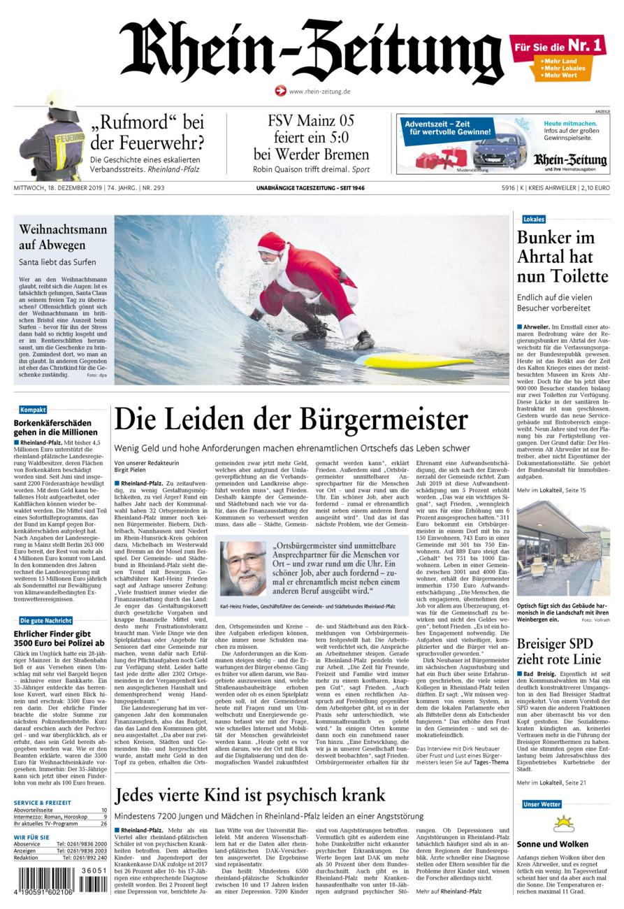 Rhein-Zeitung Kreis Ahrweiler vom Mittwoch, 18.12.2019