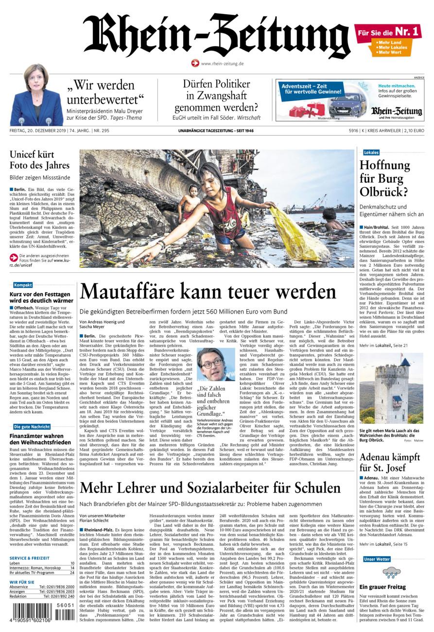 Rhein-Zeitung Kreis Ahrweiler vom Freitag, 20.12.2019