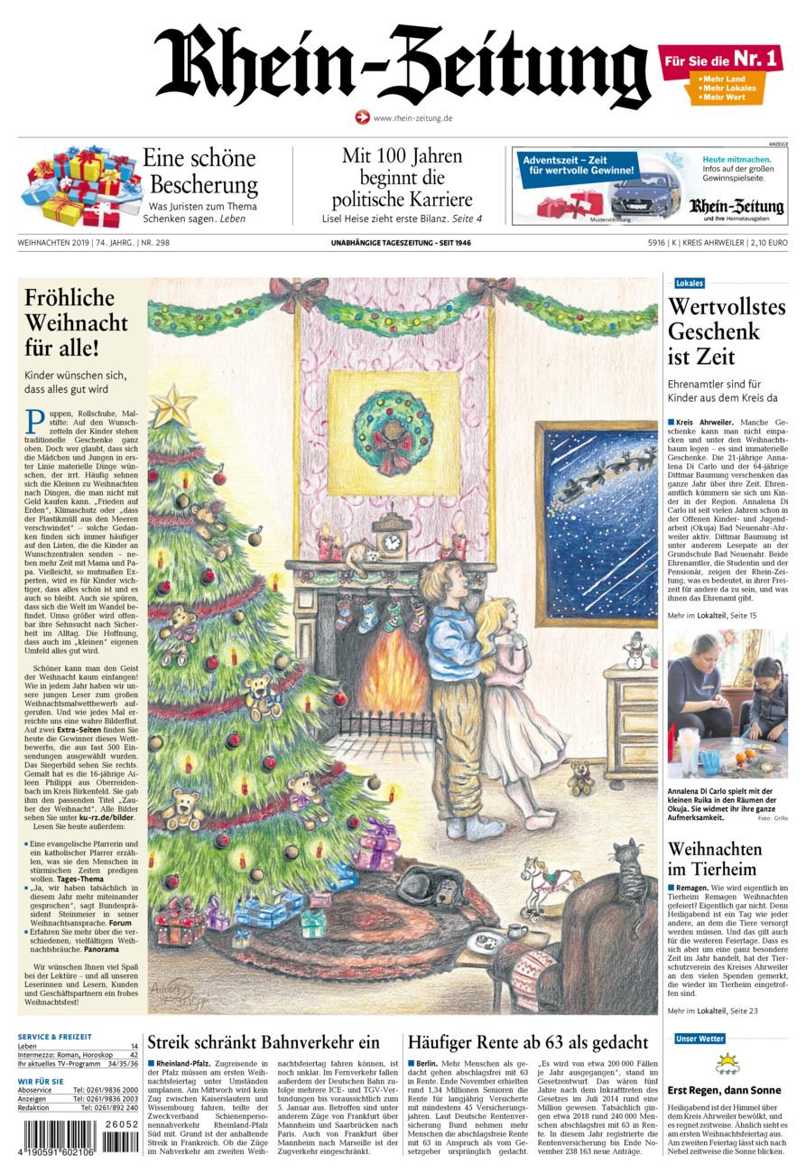 Rhein-Zeitung Kreis Ahrweiler vom Dienstag, 24.12.2019