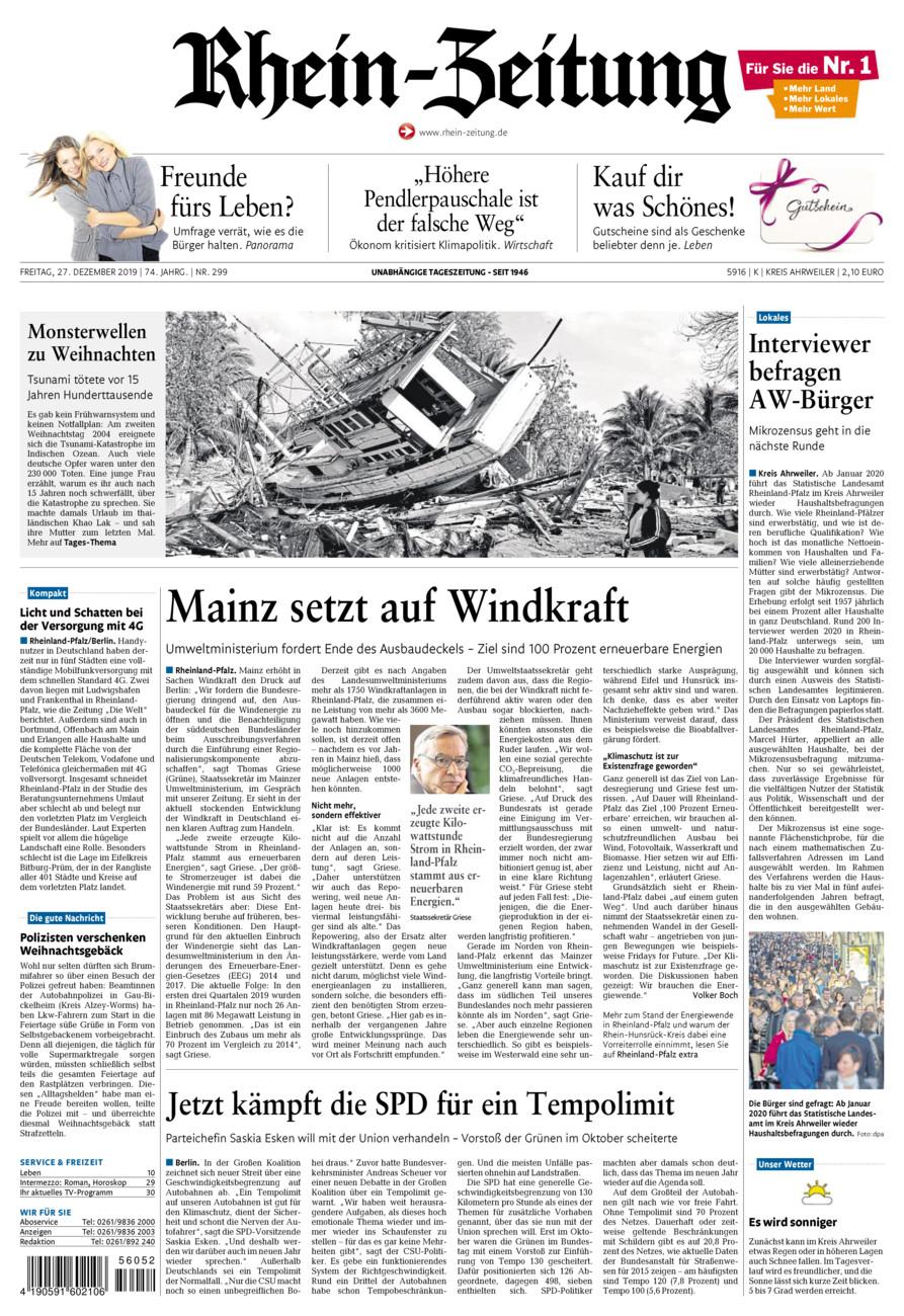 Rhein-Zeitung Kreis Ahrweiler vom Freitag, 27.12.2019