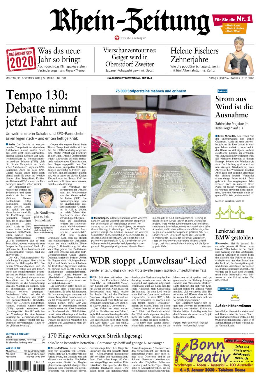 Rhein-Zeitung Kreis Ahrweiler vom Montag, 30.12.2019