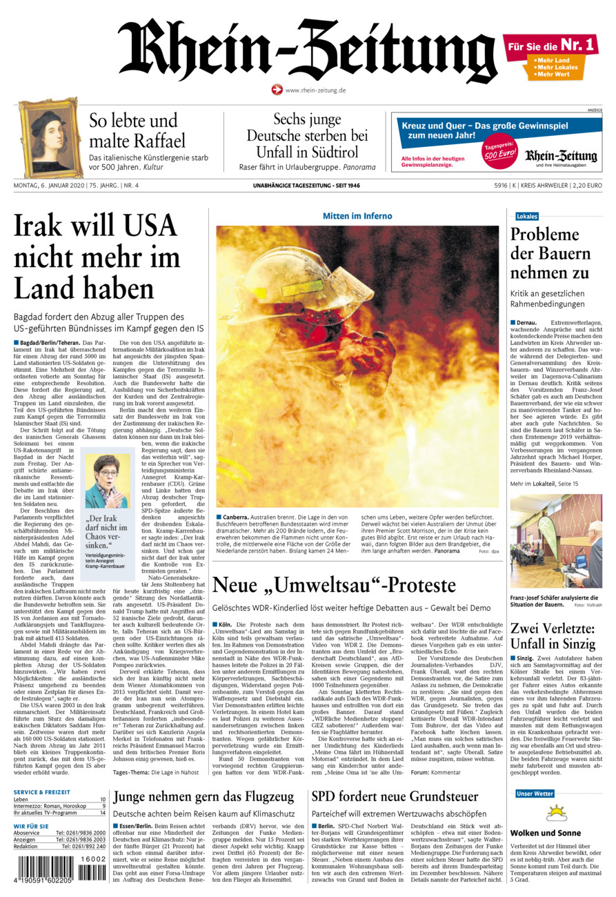 Rhein-Zeitung Kreis Ahrweiler vom Montag, 06.01.2020