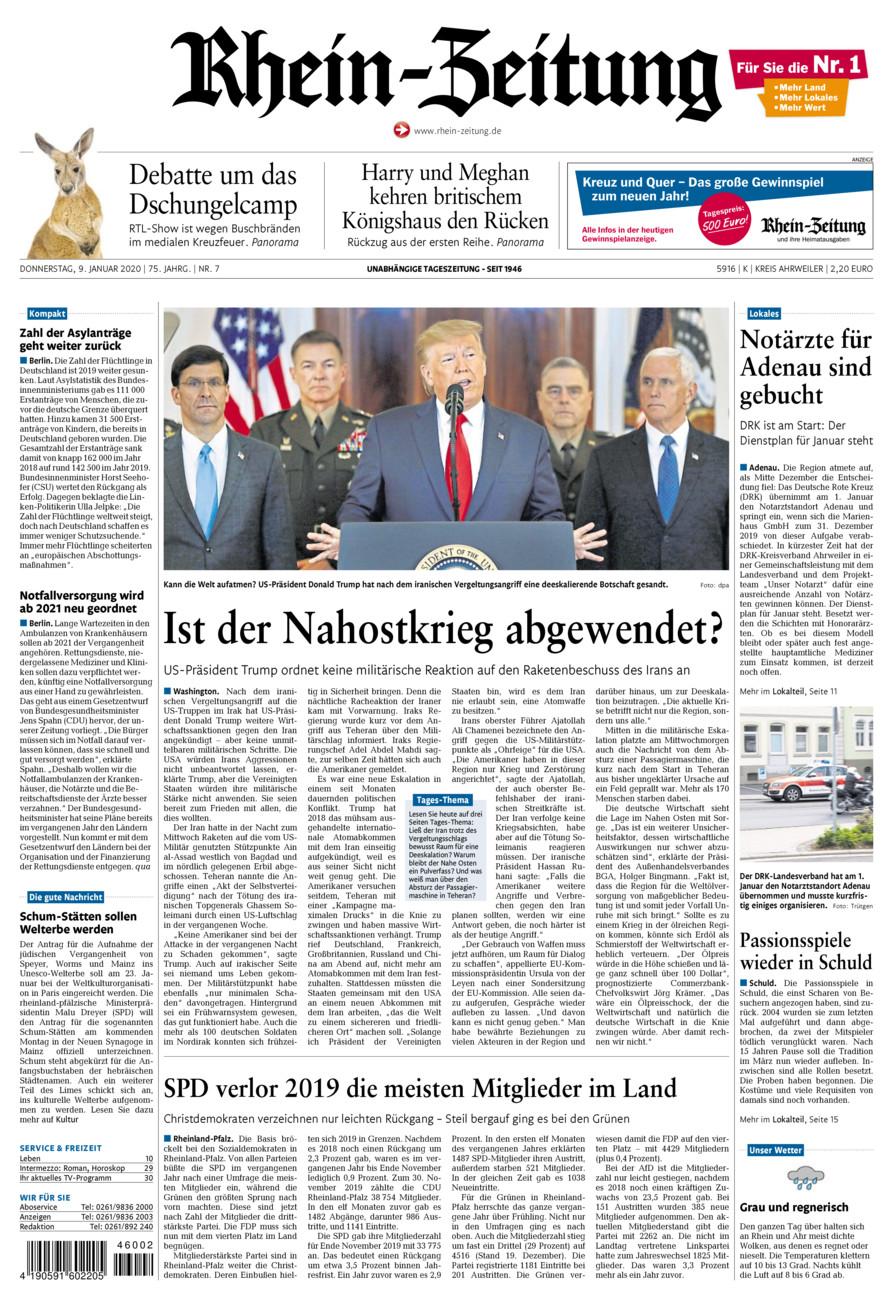 Rhein-Zeitung Kreis Ahrweiler vom Donnerstag, 09.01.2020