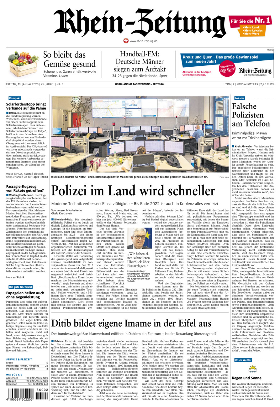 Rhein-Zeitung Kreis Ahrweiler vom Freitag, 10.01.2020