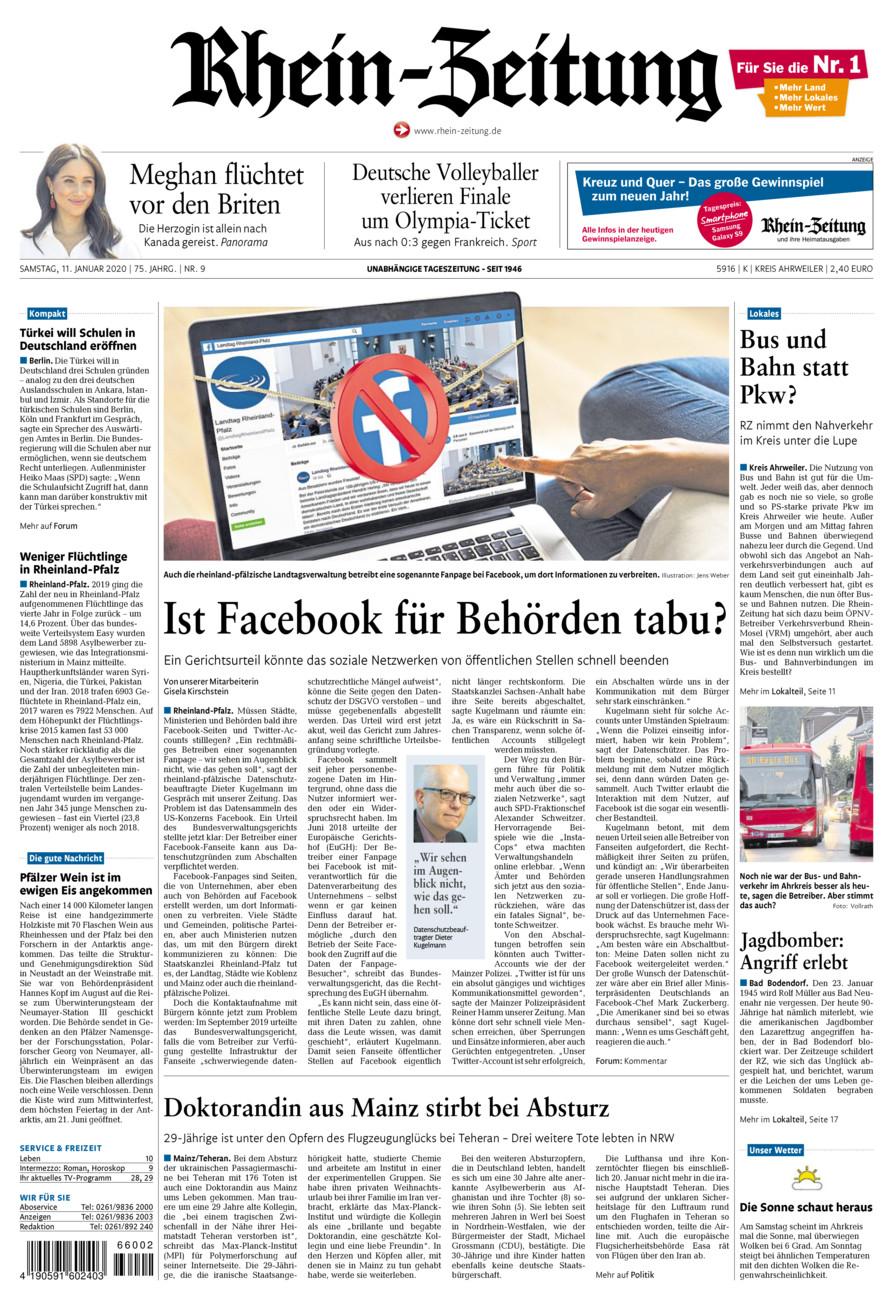 Rhein-Zeitung Kreis Ahrweiler vom Samstag, 11.01.2020