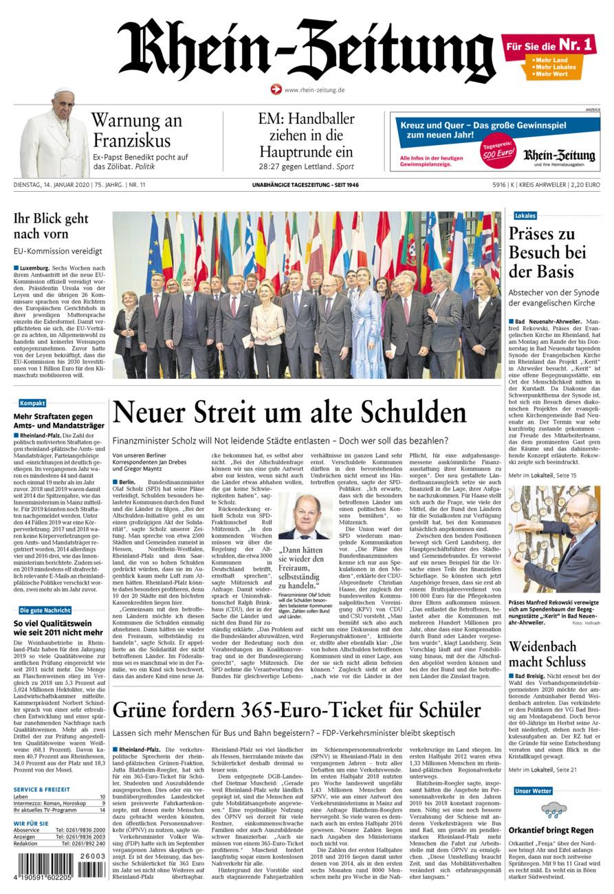 Rhein-Zeitung Kreis Ahrweiler vom Dienstag, 14.01.2020