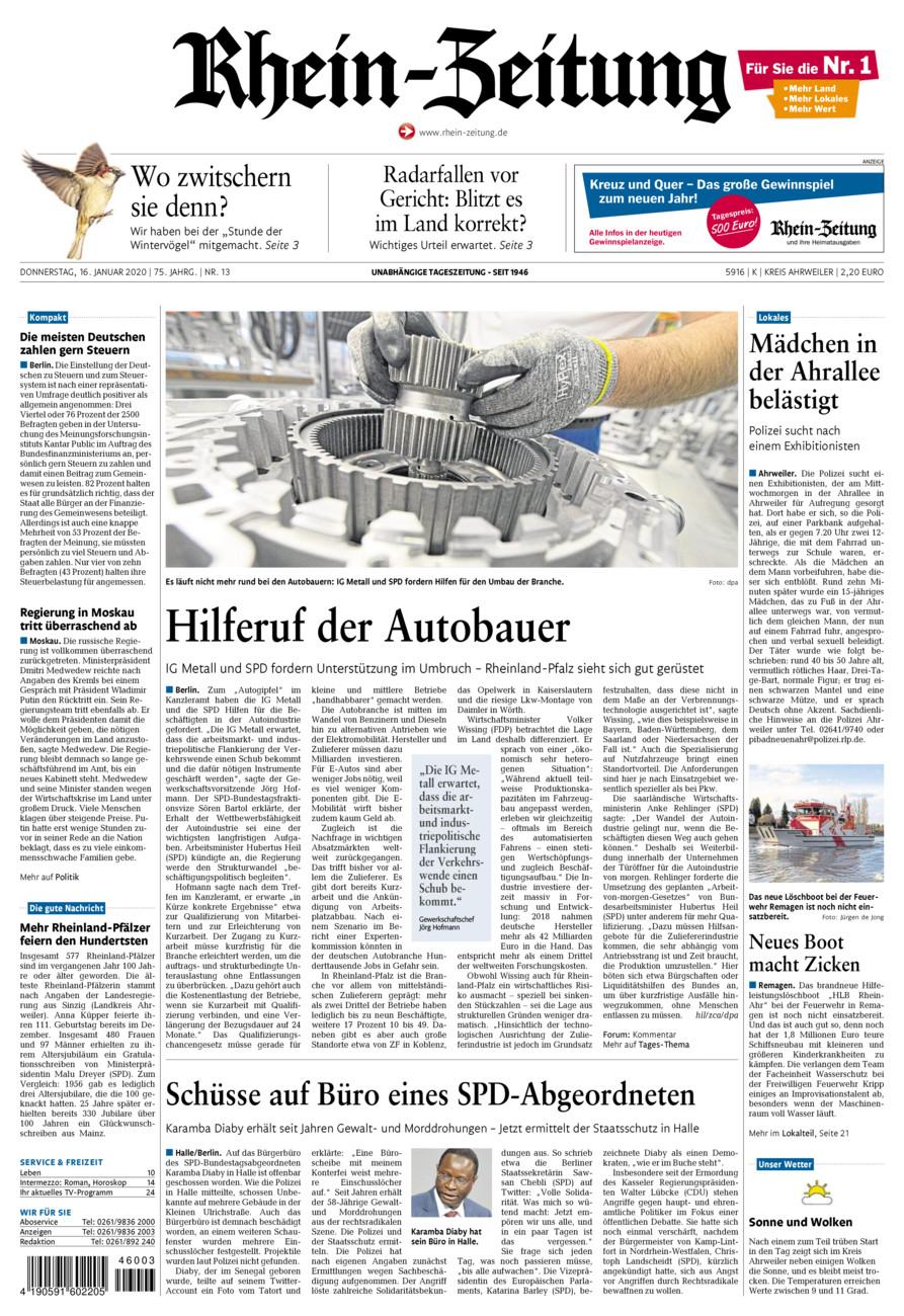 Rhein-Zeitung Kreis Ahrweiler vom Donnerstag, 16.01.2020
