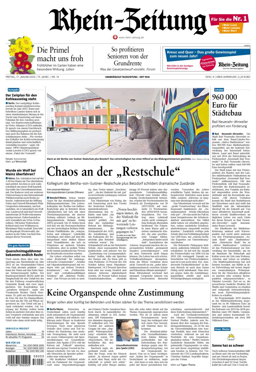 Rhein-Zeitung Kreis Ahrweiler vom Freitag, 17.01.2020