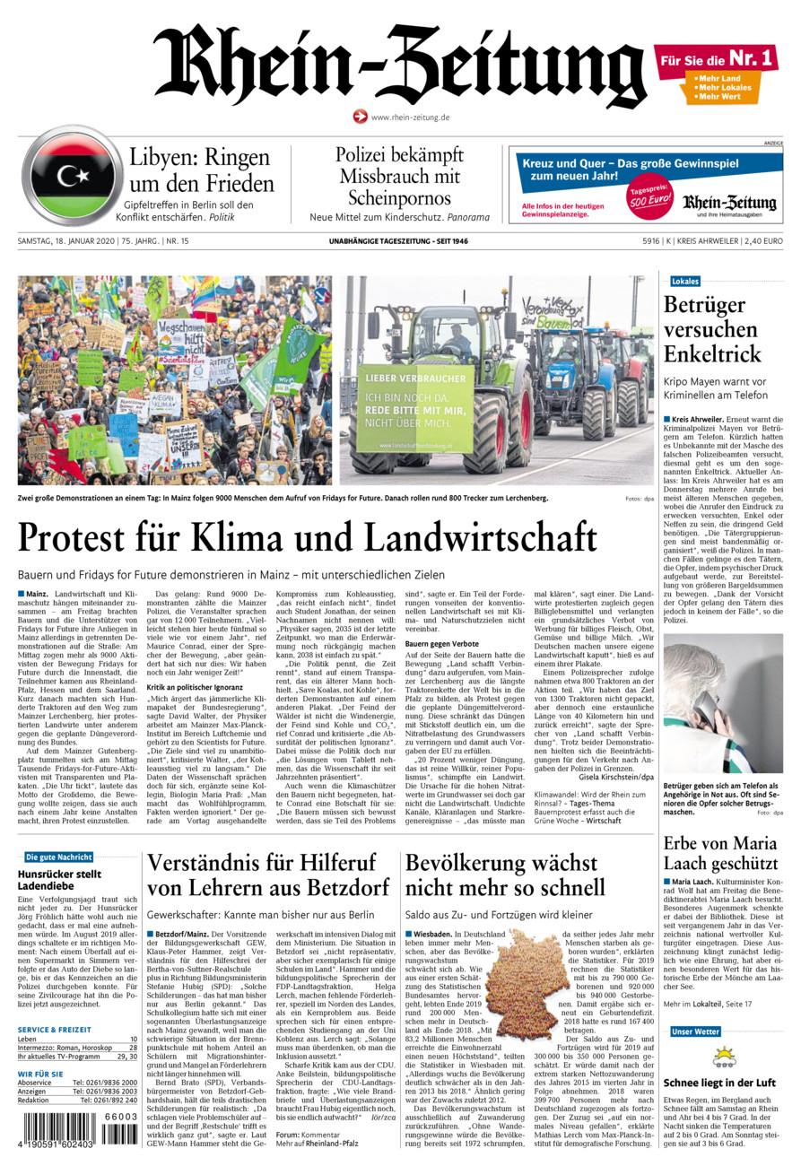 Rhein-Zeitung Kreis Ahrweiler vom Samstag, 18.01.2020