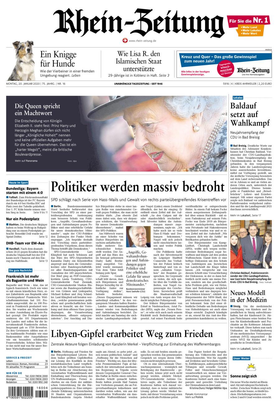 Rhein-Zeitung Kreis Ahrweiler vom Montag, 20.01.2020