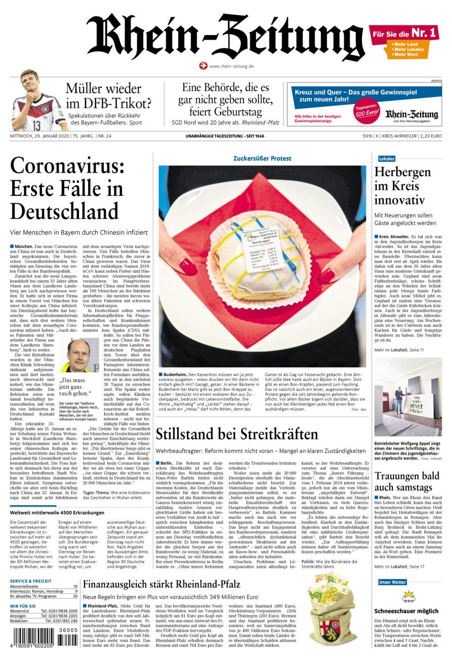 Rhein-Zeitung Kreis Ahrweiler vom Mittwoch, 29.01.2020