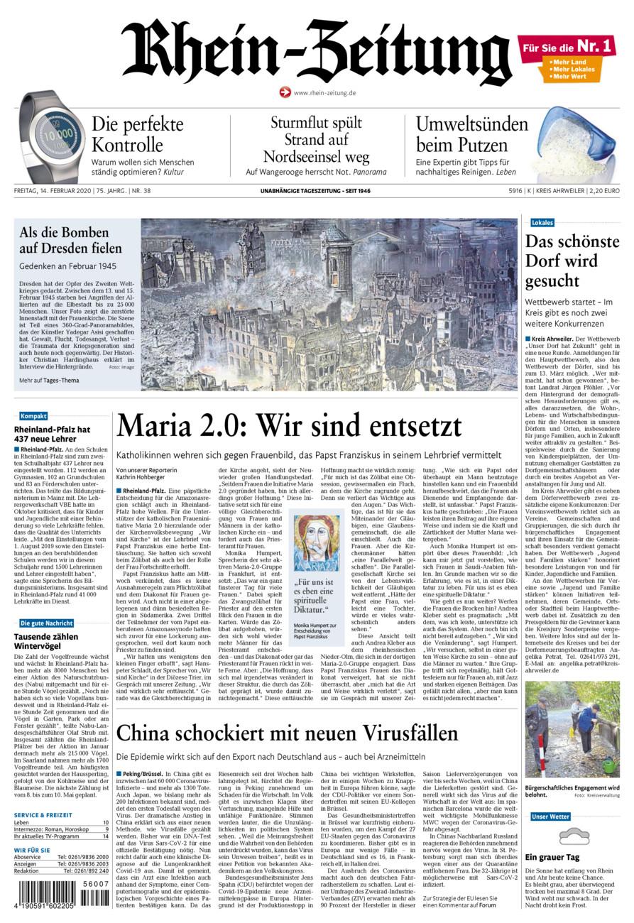 Rhein-Zeitung Kreis Ahrweiler vom Freitag, 14.02.2020