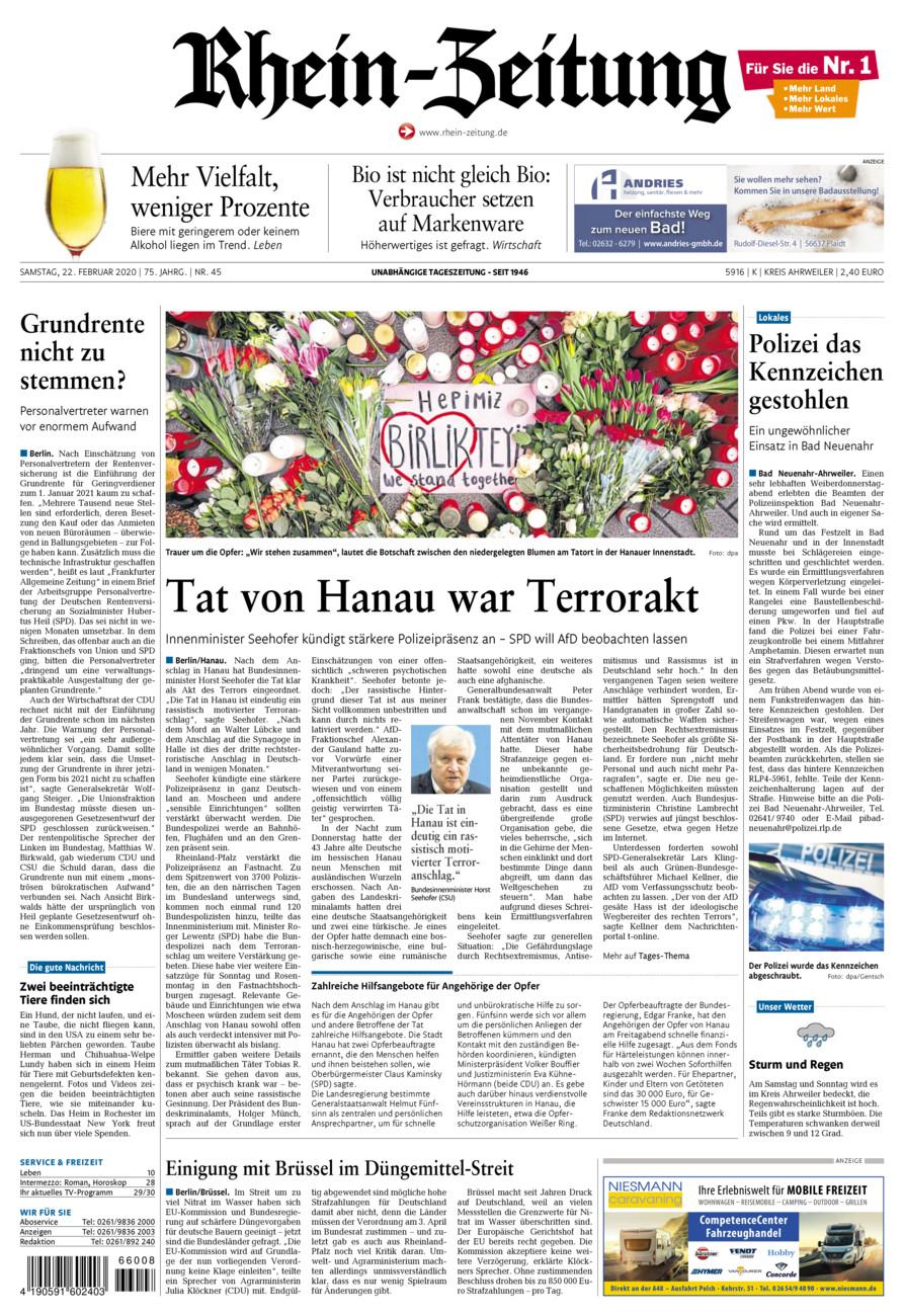 Rhein-Zeitung Kreis Ahrweiler vom Samstag, 22.02.2020