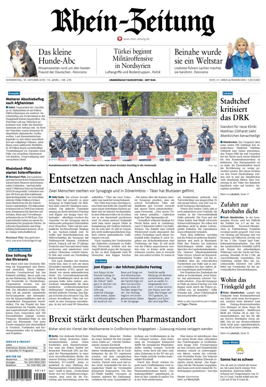 Rhein-Zeitung Kreis Altenkirchen vom Donnerstag, 10.10.2019