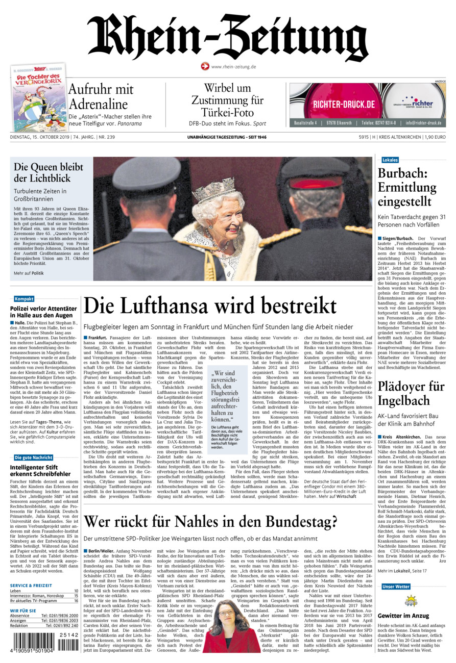 Rhein-Zeitung Kreis Altenkirchen vom Dienstag, 15.10.2019