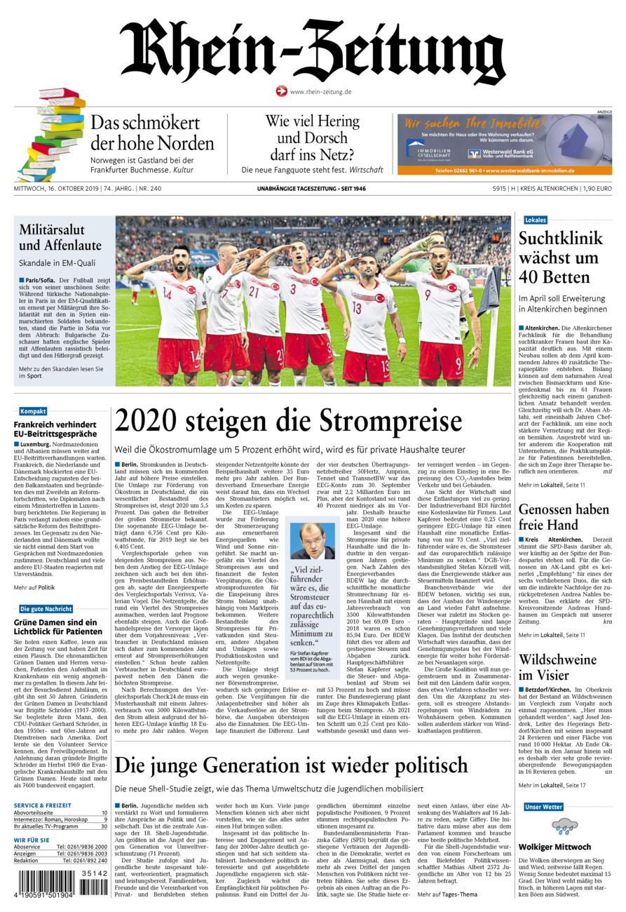 Rhein-Zeitung Kreis Altenkirchen vom Mittwoch, 16.10.2019