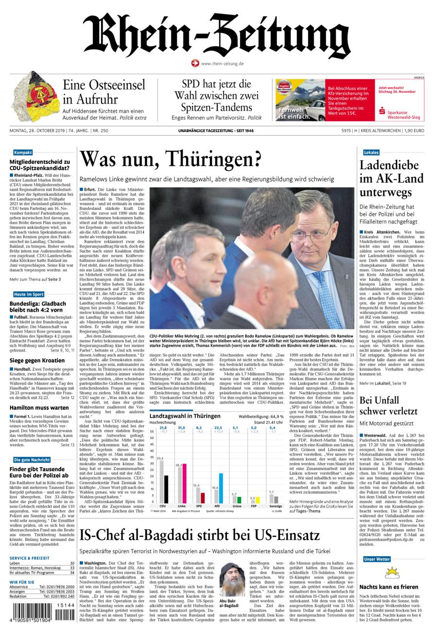 Rhein-Zeitung Kreis Altenkirchen vom Montag, 28.10.2019