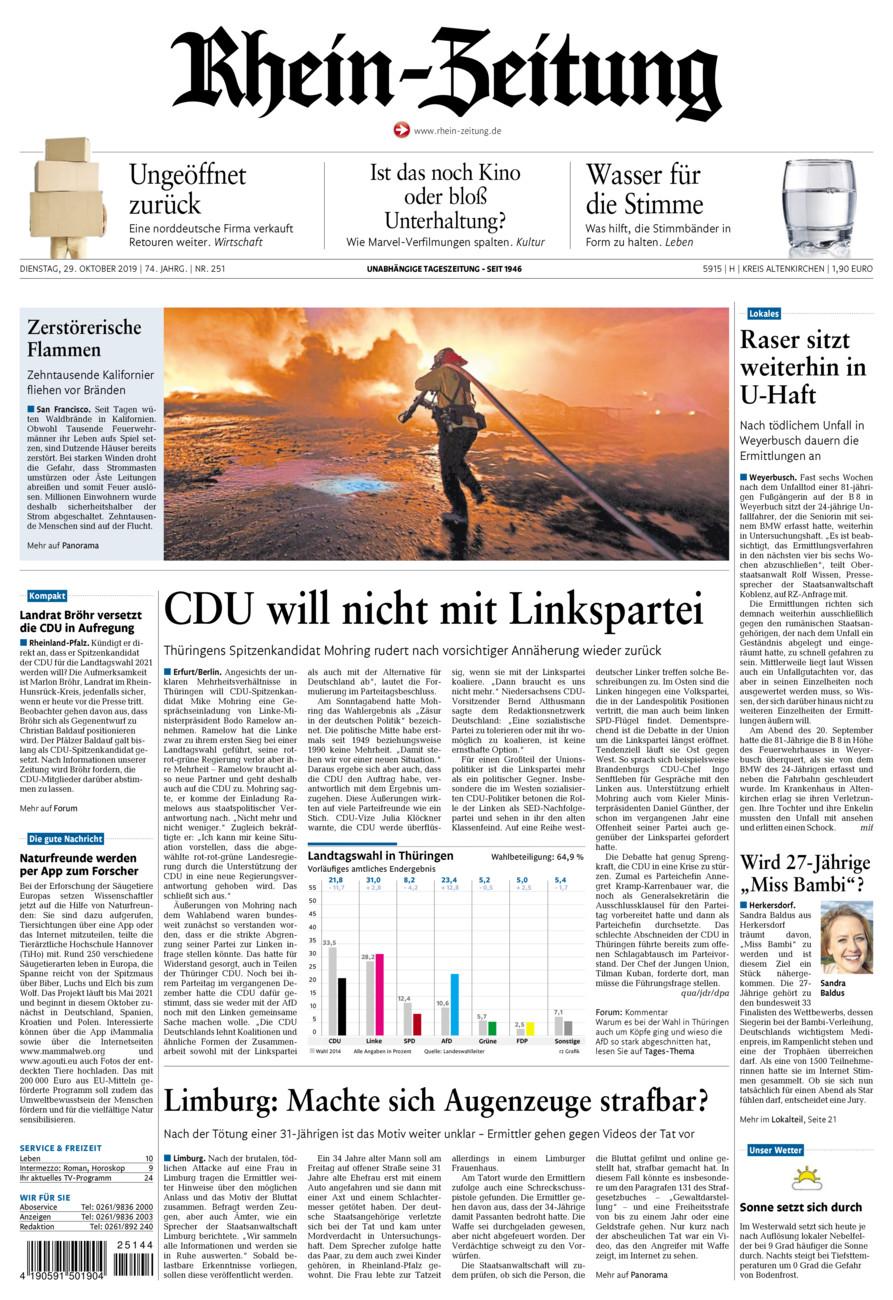 Rhein-Zeitung Kreis Altenkirchen vom Dienstag, 29.10.2019