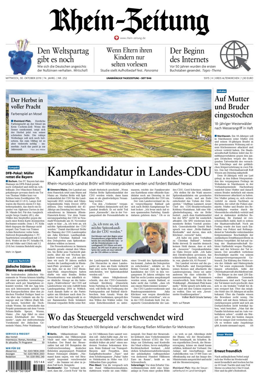 Rhein-Zeitung Kreis Altenkirchen vom Mittwoch, 30.10.2019